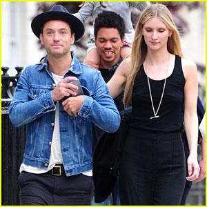 Jude Law & Girlfriend Phillipa Coan Take a Casual London Stroll