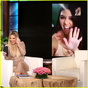 Khloe Kardashian FaceTimes Kourtney Live on 'Ellen' (Video)