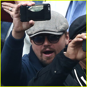 Leonardo DiCaprio Snaps Photos in the Stands at French Open Finals