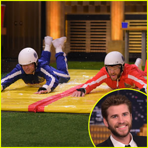 Liam Hemsworth Beats Jimmy Fallon in 'Slip & Flip' Game!