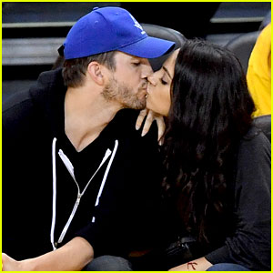 Mila Kunis & Ashton Kutcher Share Courtside Kiss at NBA Finals