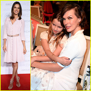 Milla Jovovich Brings Daughter Ever to Marc Cain Fashion Show