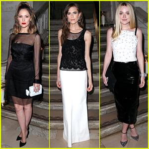 Rose Byrne, Allison Williams, & Dakota Fanning Dress in Black & White for Chanel Fine Jewelry Dinner