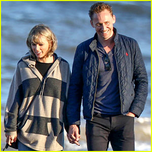 Taylor Swift & Tom Hiddleston Walk the Beach with His Mom!
