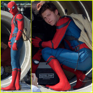 Tom Holland Wears 'Spider-Man' Costume for First Time on Set!