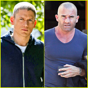 Wentworth Miller & Dominic Purcell Take a Break from 'Prison Break' Filming