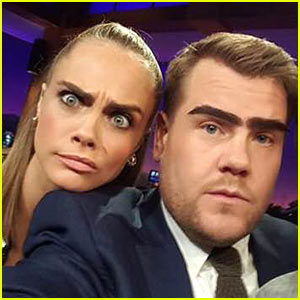 Cara Delevingne Gives James Corden Her Eyebrows