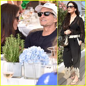 Catherine Zeta-Jones & Michael Douglas Enjoy A Lunch Date in St. Tropez!