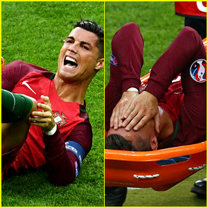 Cristiano Ronaldo Injures Knee During Euro Game, Carried Off Field in Stretcher