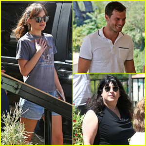 Dakota Johnson Goes Casual for Lunch with 'Fifty Shades' Gang