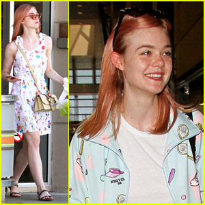 Elle Fanning Debuts New Pink Hair Color!
