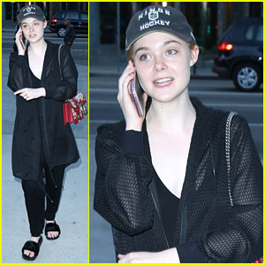 Elle Fanning Dresses Down For a Movie in LA