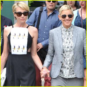 Ellen DeGeneres & Portia de Rossi Scream For Serena Williams at Wimbledon