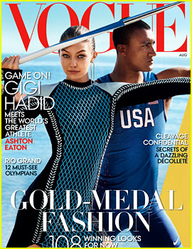 Gigi Hadid & Athlete Ashton Eaton Cover 'Vogue' August 2016