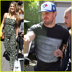 Stephen Amell, Grant Gustin & Melissa Benoist Arrive For 'Conan' Comic-Con Appearance
