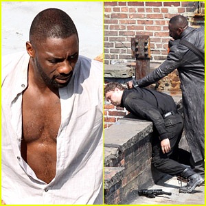 Idris Elba Unbuttons His Shirt on 'The Dark Tower' Set, Films Intense Fight Scene