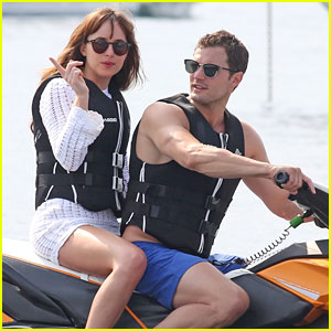 Jamie Dornan & Dakota Johnson Ride a Jet Ski for 'Fifty Shades Freed'