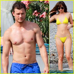 Shirtless Jamie Dornan & Bikini-Clad Dakota Johnson Film 'Fifty Shades' Beach Scene!