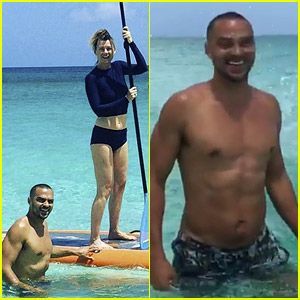 Jesse Williams Goes Shirtless on Vacation with Ellen Pompeo!