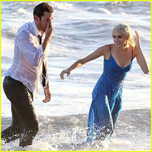 John Krasinski & Allison Williams Get Soaking Wet While Filming with Sacha Baron Cohen