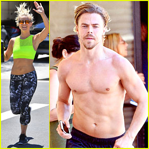 Derek Hough Goes Shirtless For Move Interactive Run in Los Angeles