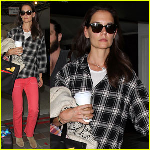 Katie Holmes Goes Solo Upon Arrival in Los Angeles