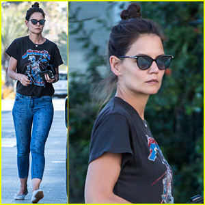 Katie Holmes Wears a Metallica Shirt for Casual Friday Outing