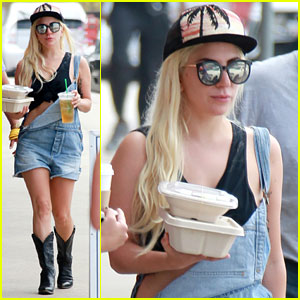 Lady Gaga Does a Lunch Run in Her Overall Shorts