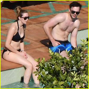 Nicholas Hoult Spends the Day Shirtless By the Pool