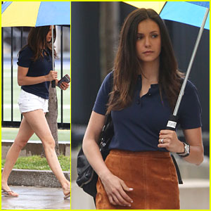 Nina Dobrev Brings Big Umbrella To 'Flatliners' Set