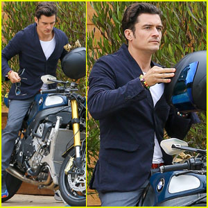 Orlando Bloom Takes His Motorcycle to Malibu