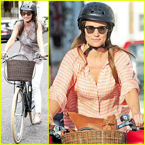Pippa Middleton Shows Off Her Engagement Ring While Bike Riding Through London