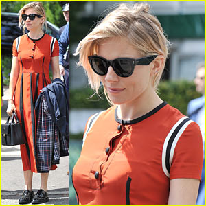 Sienna Miller Is an Orange Beauty at Wimbledon