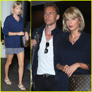 Taylor Swift & Tom Hiddleston Match in Blue for L.A. Landing