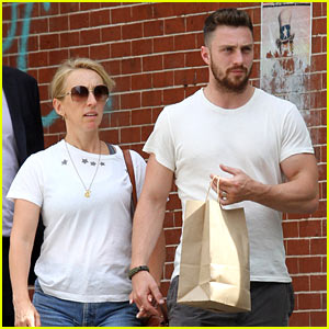 Aaron Taylor-Johnson & His Wife Sam Hold Hands for a Stroll in Soho