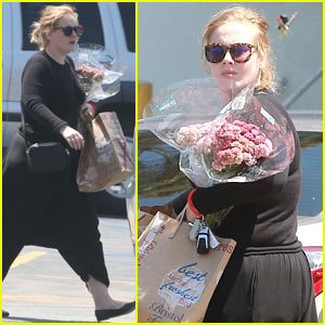 Adele Picks Up Flowers While Out Shopping!