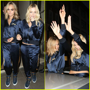Cara Delevingne & Margot Robbie Wear Matching Blue Tracksuits & Party Outside Car Sunroof