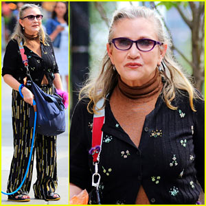Carrie Fisher Takes Her Bulldog for a Walk Around NYC