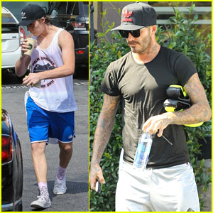 David Beckham & Son Brooklyn Grab Smoothies After Cycling Class!