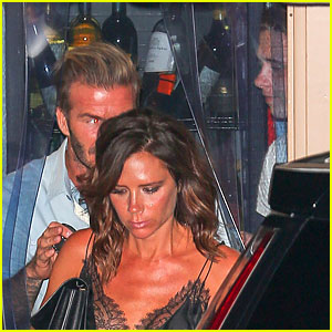 David & Victoria Beckham Grab Dinner with Son Brooklyn