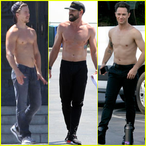 Derek Hough & the 'DWTS' Guys Go Shirtless to Film Promo