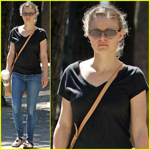Emilie de Ravin Takes a Walk to Grab Some Coffee