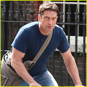 Gerard Butler Goes for a Bike Ride in London