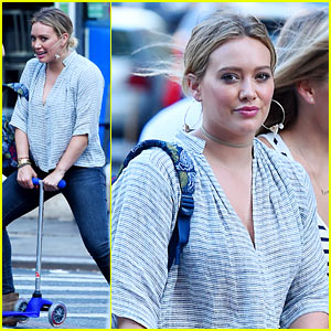Hilary Duff Plays on Son Luca's Scooter While Heading to Dinner!