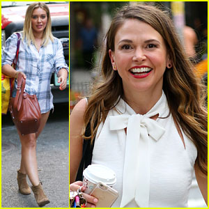 Hilary Duff & Sutton Foster Film 'Younger' in NYC