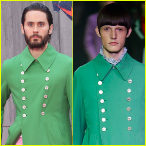 Jared Leto Wore a Green Gucci Jacket Straight Off the Runway to the 'Suicide Squad' Premiere
