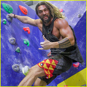 Jason Momoa's Biceps Are Bulging All Over on the Climbing Wall