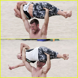 Julianne Hough's Fiance Brooks Laich Uses Her Body as a Bench Press!