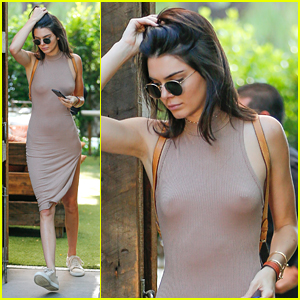 Kendall Jenner Goes Braless For Lunch With Sisters