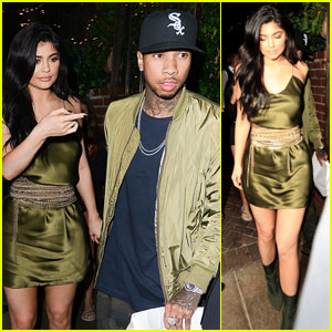 Kylie Jenner & Tyga Wear Matching Green Outfits for Dinner